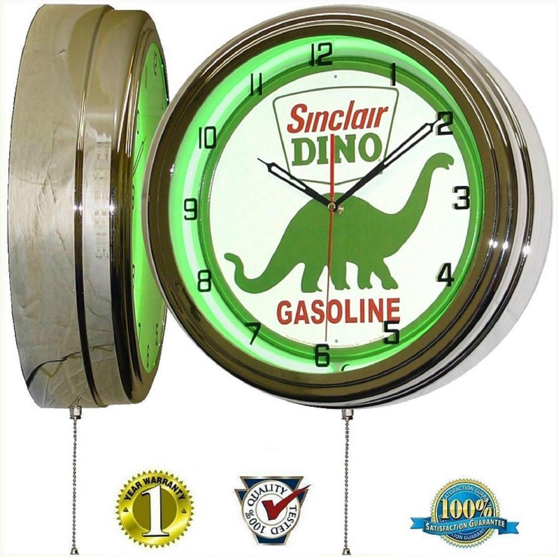 SINCLAIR DINOSAUR 15'' NEON LIGHT WALL CLOCK GASOLINE GAS FUEL PUMP OIL SIGN GREEN
