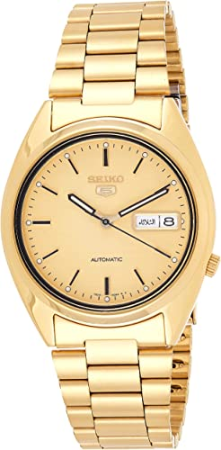 Amazon Com Seiko Men S Snxl72 Seiko 5 Automatic Gold Tone Stainless Steel Bracelet Watch With Patterned Dial Seiko Watches