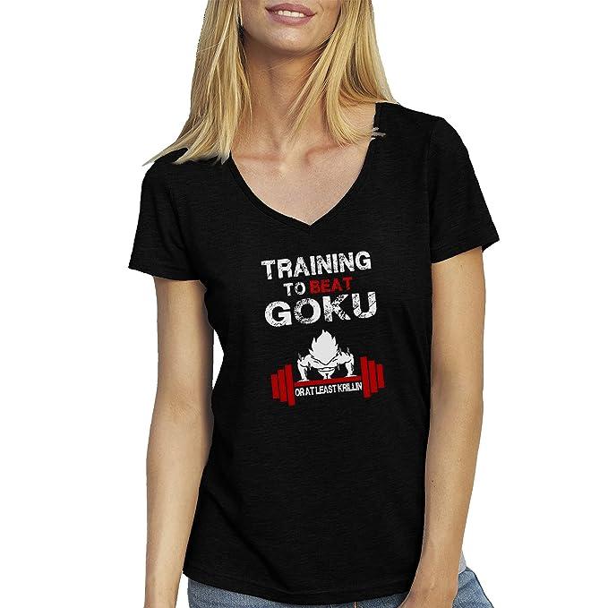Bodybuilding Training to Beat Goku Dragonball Atheltic FB Banksy Logo Black T-Shirt V Neck