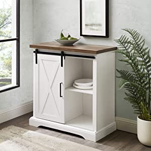 Walker Edison Modern Farmhouse Buffet Entryway Bar Kitchen Dining Storage Cabinet Living Room, Without Fireplace, White