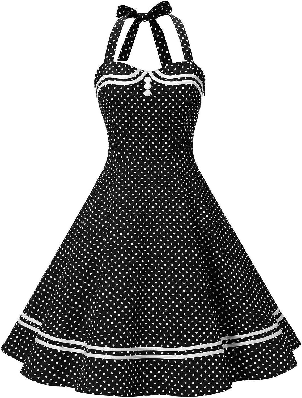 Timormode 50er Vintage Ballkleider Kurz Baumwoll Rockabilly Retro Cocktail Kleid