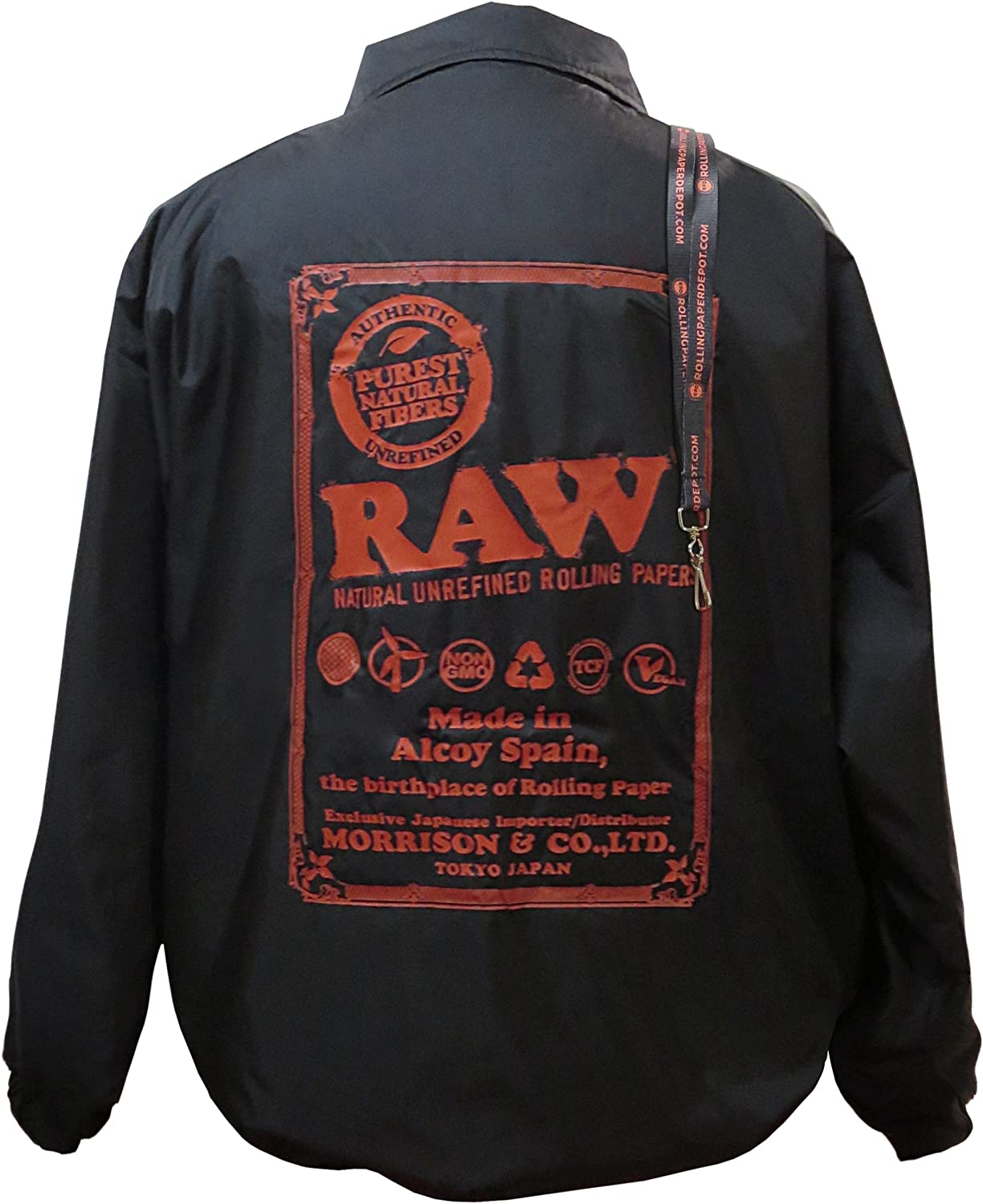 buy online pick up big sale Amazon.com: RAW Rolling Papers Tokyo Coaches Jacket with Rolling ...