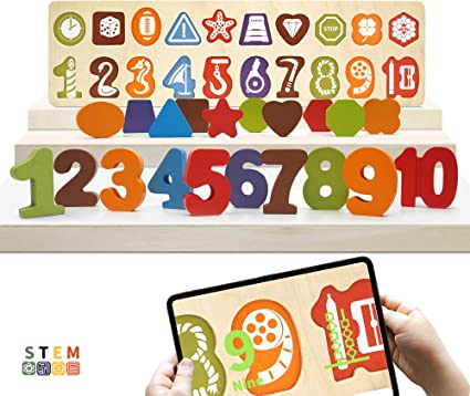 Builds Beginner Numeracy Skills. Helps Kids Recognize Numbers with Imprinted Number Shapes on Peg Board 20 Piece KIPPTO Wooden 123 Number and Geometric Shape Puzzle for Toddlers 2 3 4 Year-Old
