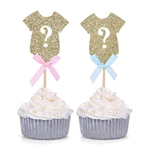 Set of 24 Gender Reveal Party Decors Gold Onesie Question Mark Cupcake Toppers - by Giuffi