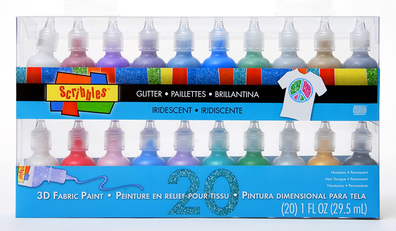 Bulk Buy: Scribbles Glitter 3D Paint Glitter - Pack of 20 Glitter, Nontoxic & Permanent Dimensional Paints for Fabrics, T-shirts, Backpacks, Posters, Glass, Wood and More ilovetocreate 28879