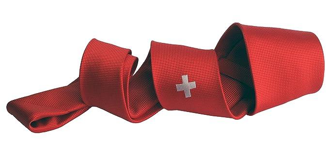 Corbatas de hombre - Corbata roja - corbata bandera Suiza -Corbata ...