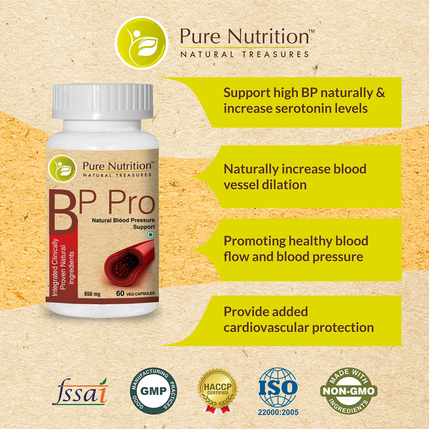 Amazon.com: Pure Nutrition BP Pro Management - Herbal Blood Pressure support supplement - 90 Veg Capsules (w/Terminalia Arjuna Bark Extract, ...