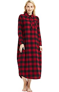 c86bbb6da9 Amoy madrola Women s 100% Cotton Woven Flannel Nightgowns Full Length Long