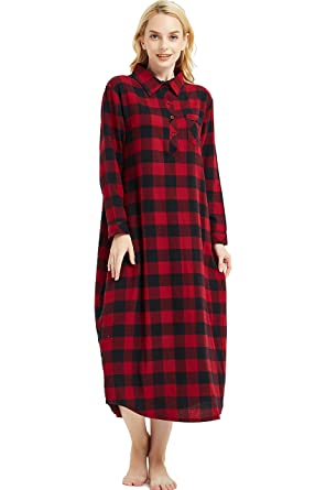 897ac1b228 Amoy madrola Women s Long Sleeve Plaid Flannel Nightgown Cotton Full Length  Sleepwear SY291-Red