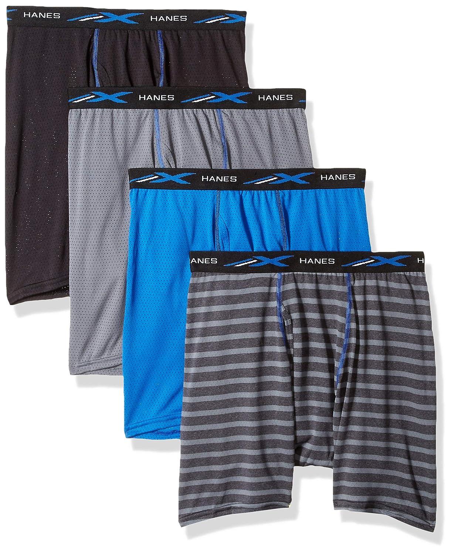 Hanes Men's X-Temp Lightweight Mesh Stripe Boxer Brief 4-Pack