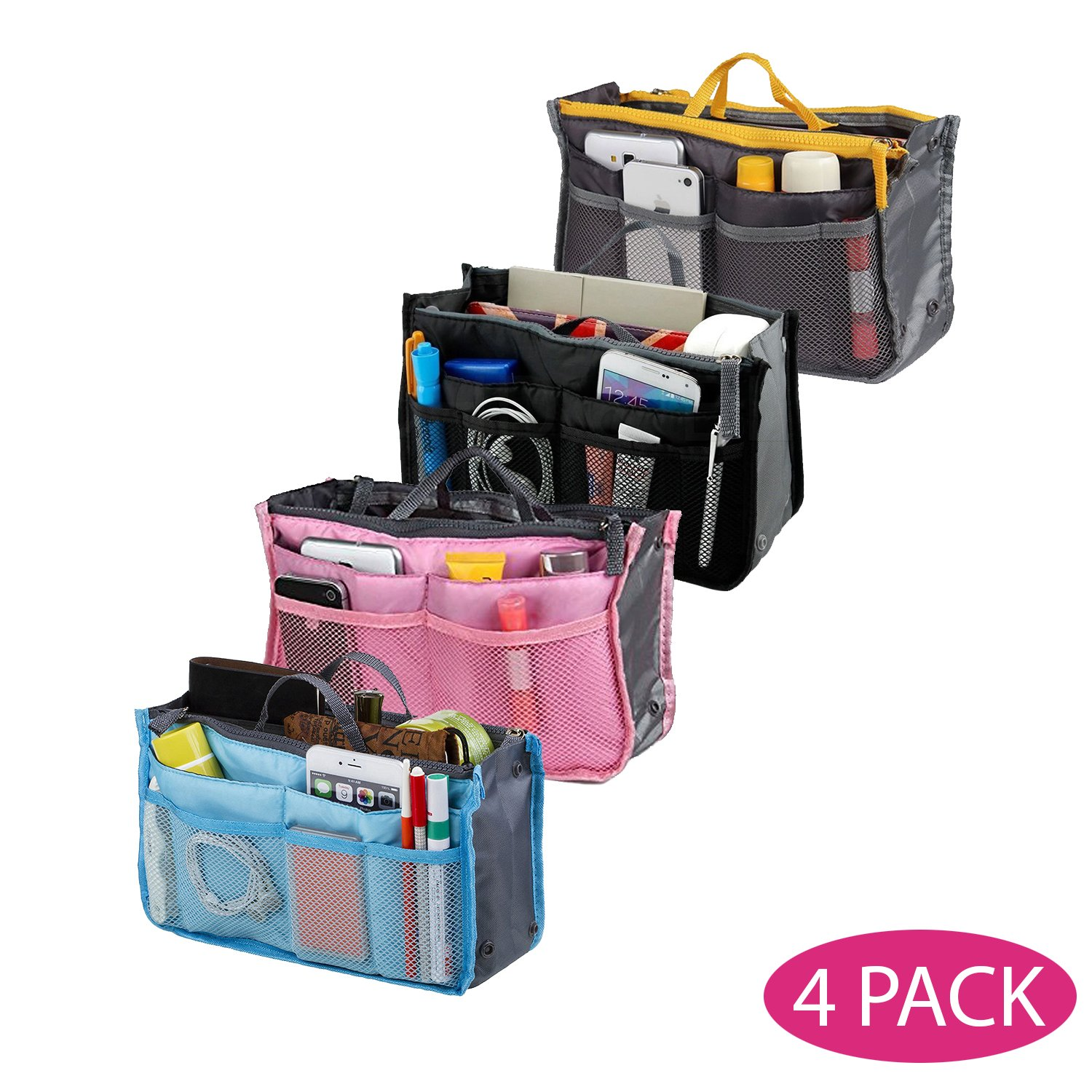 Top Quality Organizer Travel Bag For Women| 12 Compartment Tote/ Toiletry Bag For Makeup & Travel/ Cosmetic Accessories Organizing| Large Liner Insert-Organizer| Women's Handbags By Go Beyond