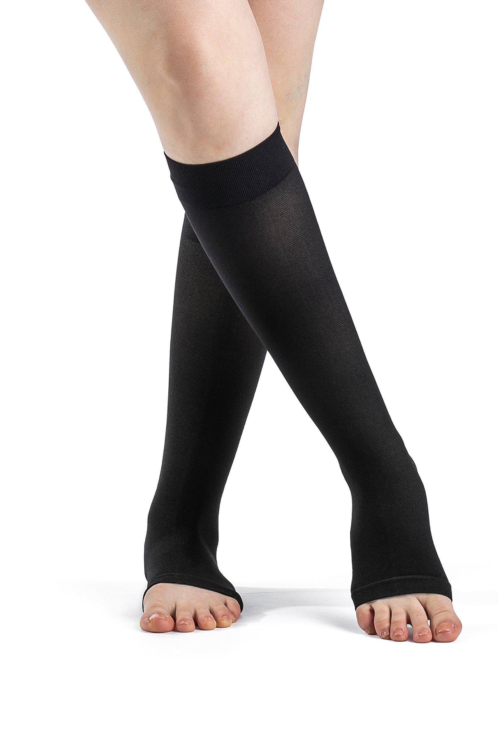 SIGVARIS Women's Access 970 Open-Toe Calf High Medical Compression 30-40mmHg