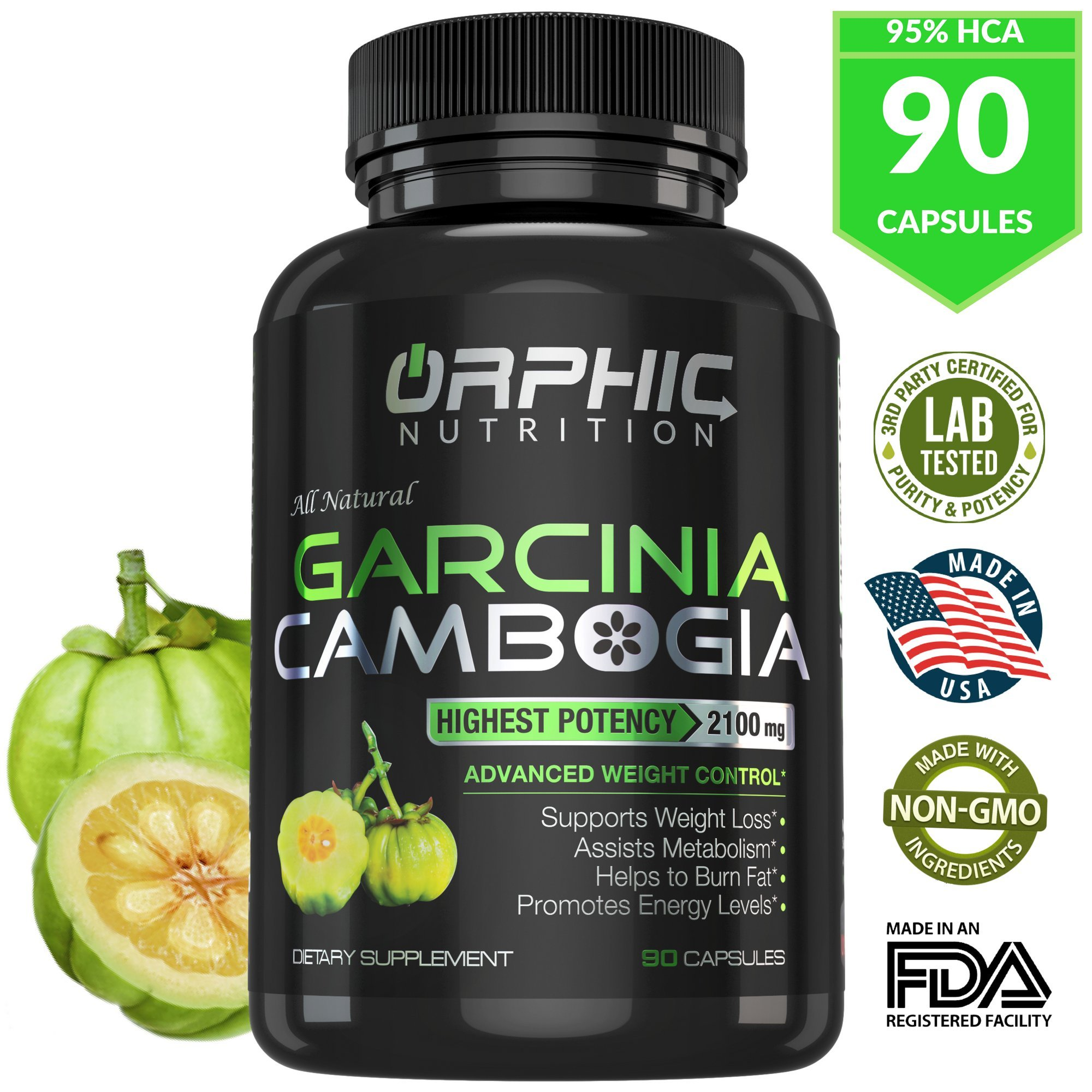 ORPHIC Nutrition 100% Pure Cambogia Extract 95% HCA, 2100 mg Capsules | 100% Natural Appetite Suppressant | Non-Stimulating | Lose Weight, Burn Fat & Boost Metabolism for Men & Women
