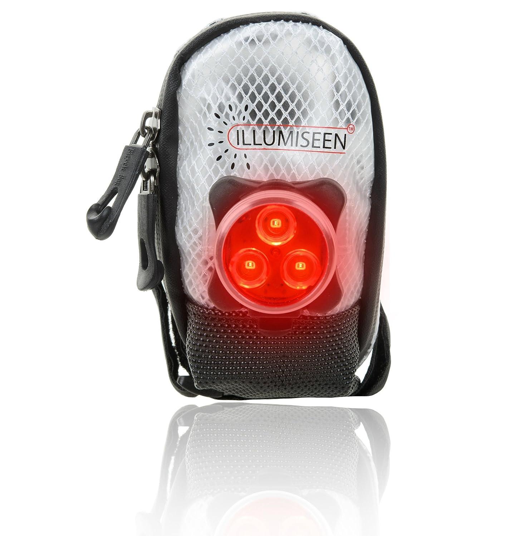 Sillín Bolsa w/LED–funciona mejor para bicicleta de carretera y MTB–Accesorios de Bicicleta de luz trasera incluido–ideal para poner bajo su bicicleta asiento trasero–seguro, cómodo, resistente al agua y de alta visibilidad, Black-White Illumiseen