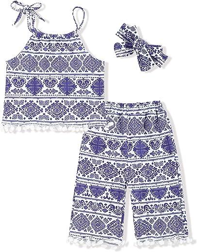 ملابس Oklady للأطفال البنات ملابس عرقية بدون أكمام وبناطيل صيفية للفتيات 4-5T