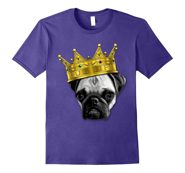 PUGS 4 LIFE King Top Dog w Crown Funny Tshirt K-9 PUGLIFE-Vaci