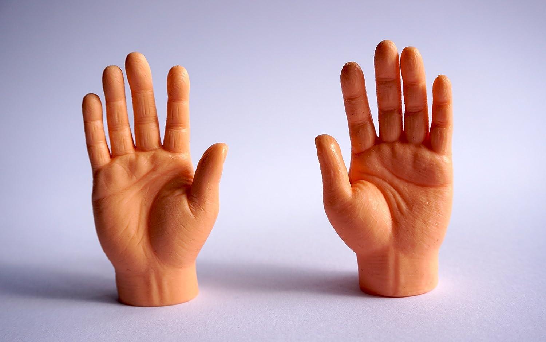 1Paar Finger Hände Mini Finger Aufsteck Hand Fingerpuppe Handpuppe Gummihand