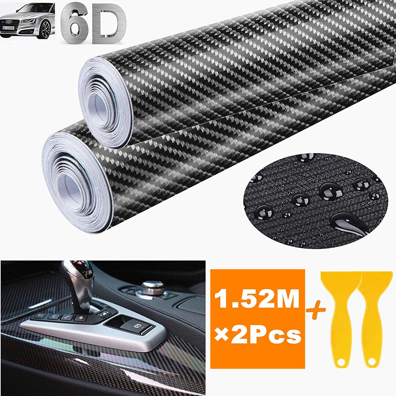 STARPIA 6D Film Autocollant Adh/ésif Vinyle en Fibre de Carbone Voiture Auto Ext/érieur et Int/érieur D/écoration Noir, 20 * 152cm