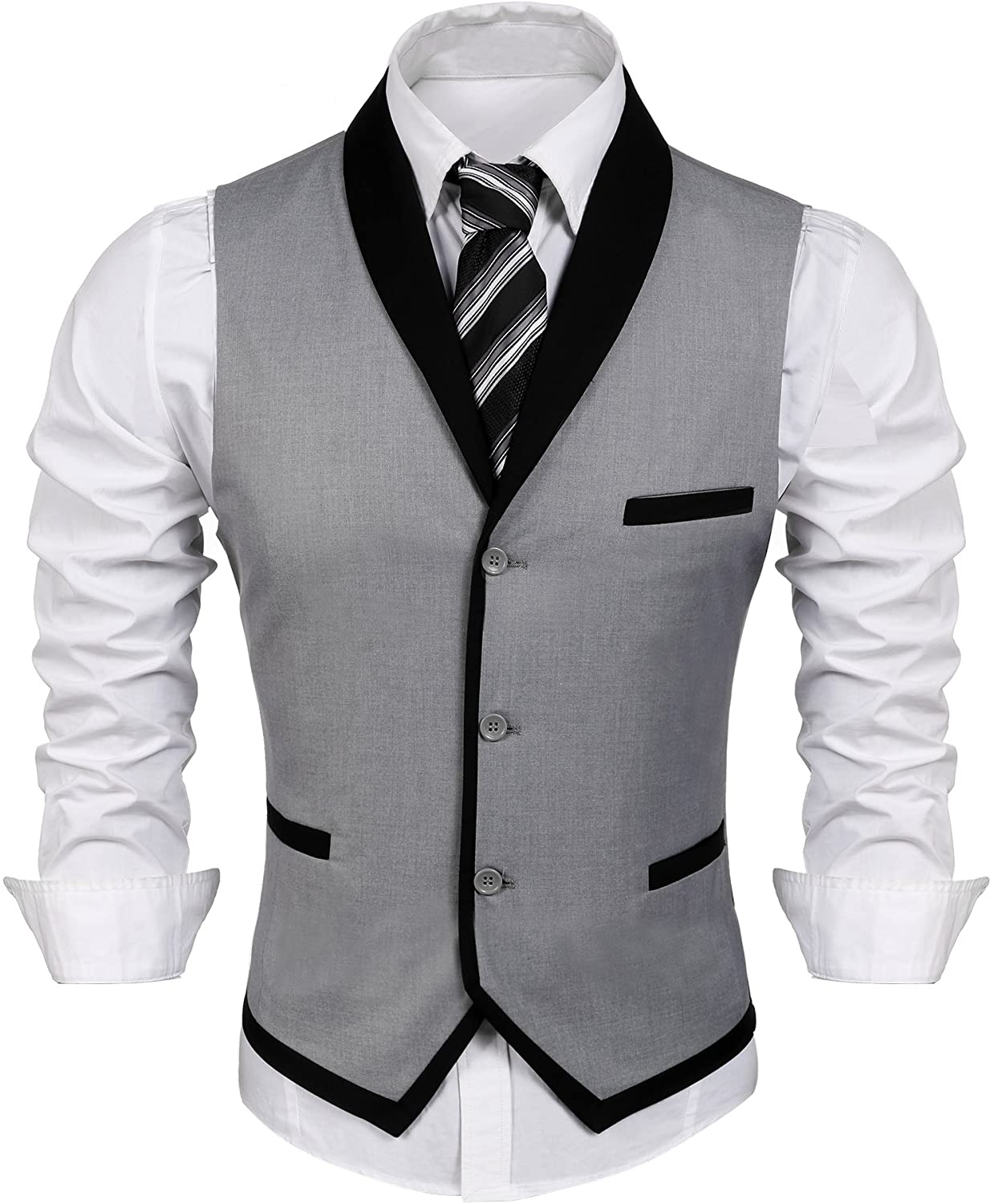 COOFANDY Men's Suit Vest Slim Fit Business Wedding Vests Dress Waistcoat