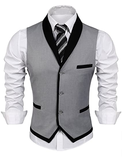 bb0baff6a61 COOFANDY Men's Suit Vest Slim Fit Business Wedding Waistcoat