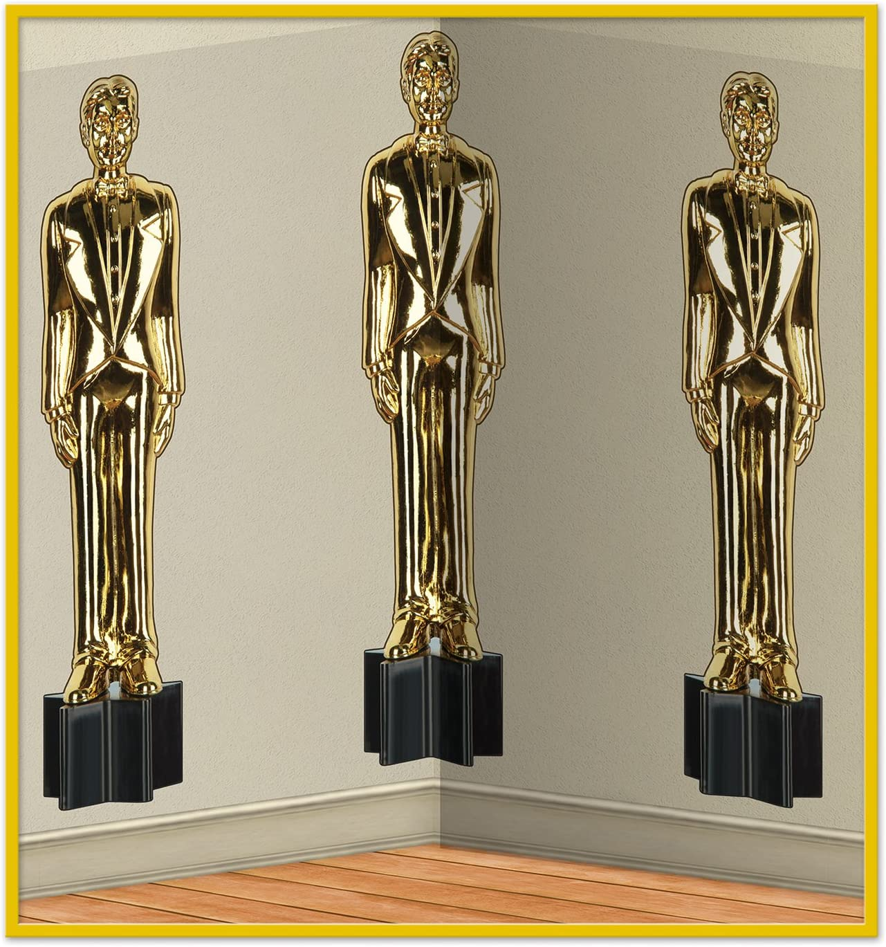 Beistle Awards Night Male Statuettes Backdrop, 4' x 30', Gold/Black/Clear