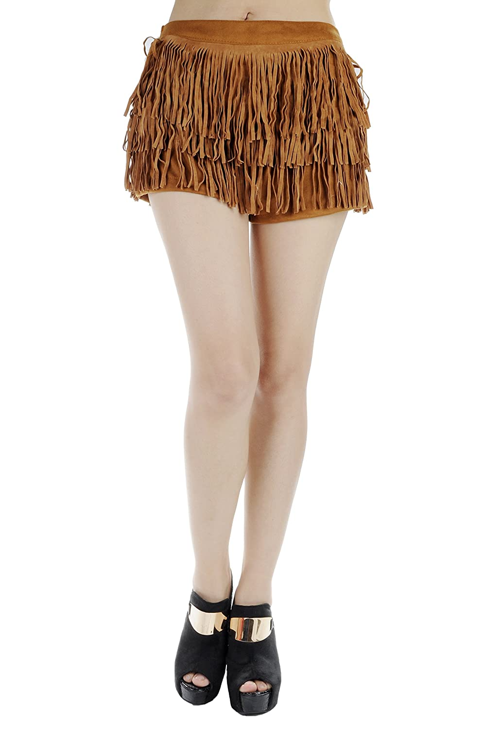 Anna Kaci Womens S/M Fit All Over Trim Overlay Back Bowed Shorts Brown