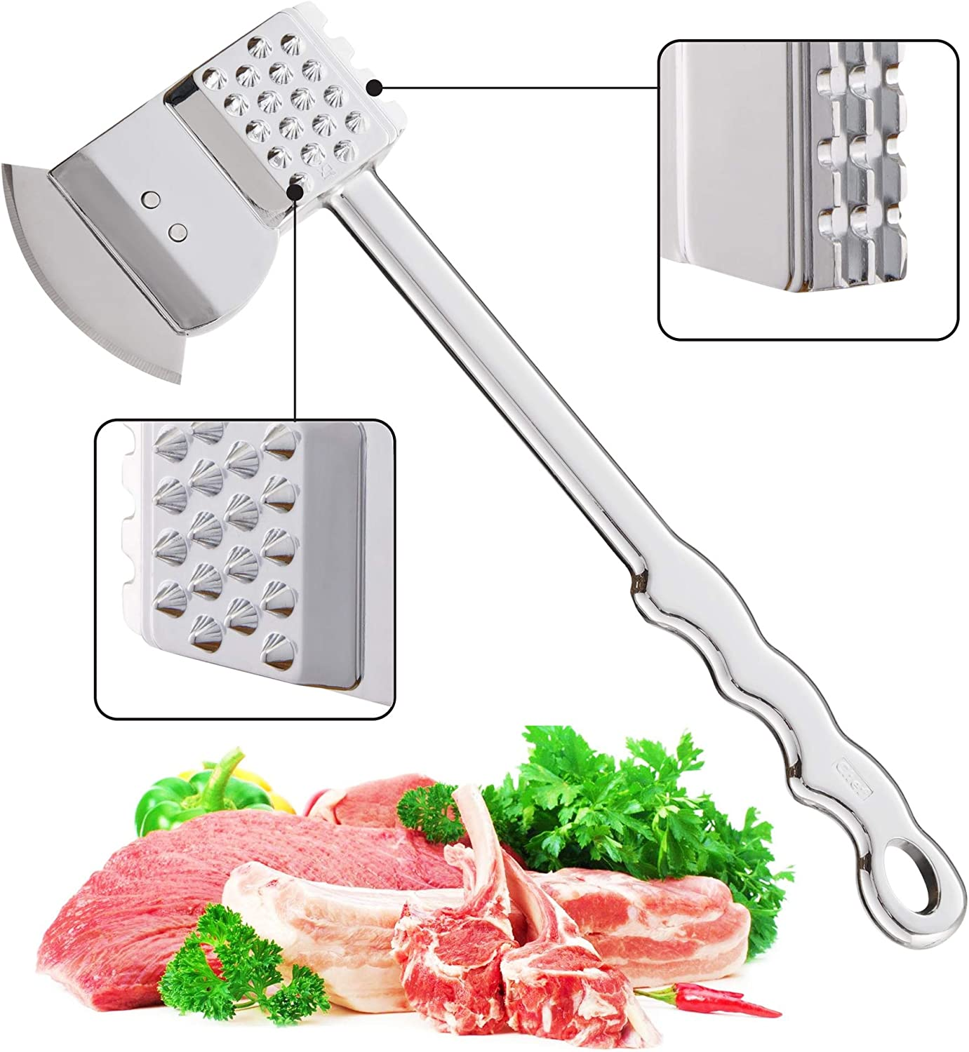 REMIHOF Meat Tenderizer and Pounder 4-in-1 - Dual Sided Meat Tenderizer Mallet, Dishwasher Safe Heavy Duty Meat Hammer Softener is perfect for Tenderizing Steak, Beef, Chicken, Lamb and Minced Meat