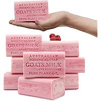 Australian Botanical Soap, Goat's Milk with Raspberry Plant Oil Soap, 6.8 oz. 193g Bars - 8 Count