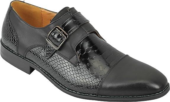 TALLA 41 EU. Hombres Negro Marrón Brillante De Cuero De Piel De Serpiente Efecto De La Vendimia Inteligente Boda Informal De Deslizamiento En Los Zapatos del Partido