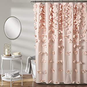 Lush Decor, Blush Riley Shower Curtain | Bow Tie Textured Fabric Shabby Chic Farmhouse Style for Bathroom, x 72