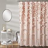 Lush Decor, Blush Riley Shower Curtain | Bow Tie Textured Fabric Shabby Chic Farmhouse Style for Bathroom, x 72