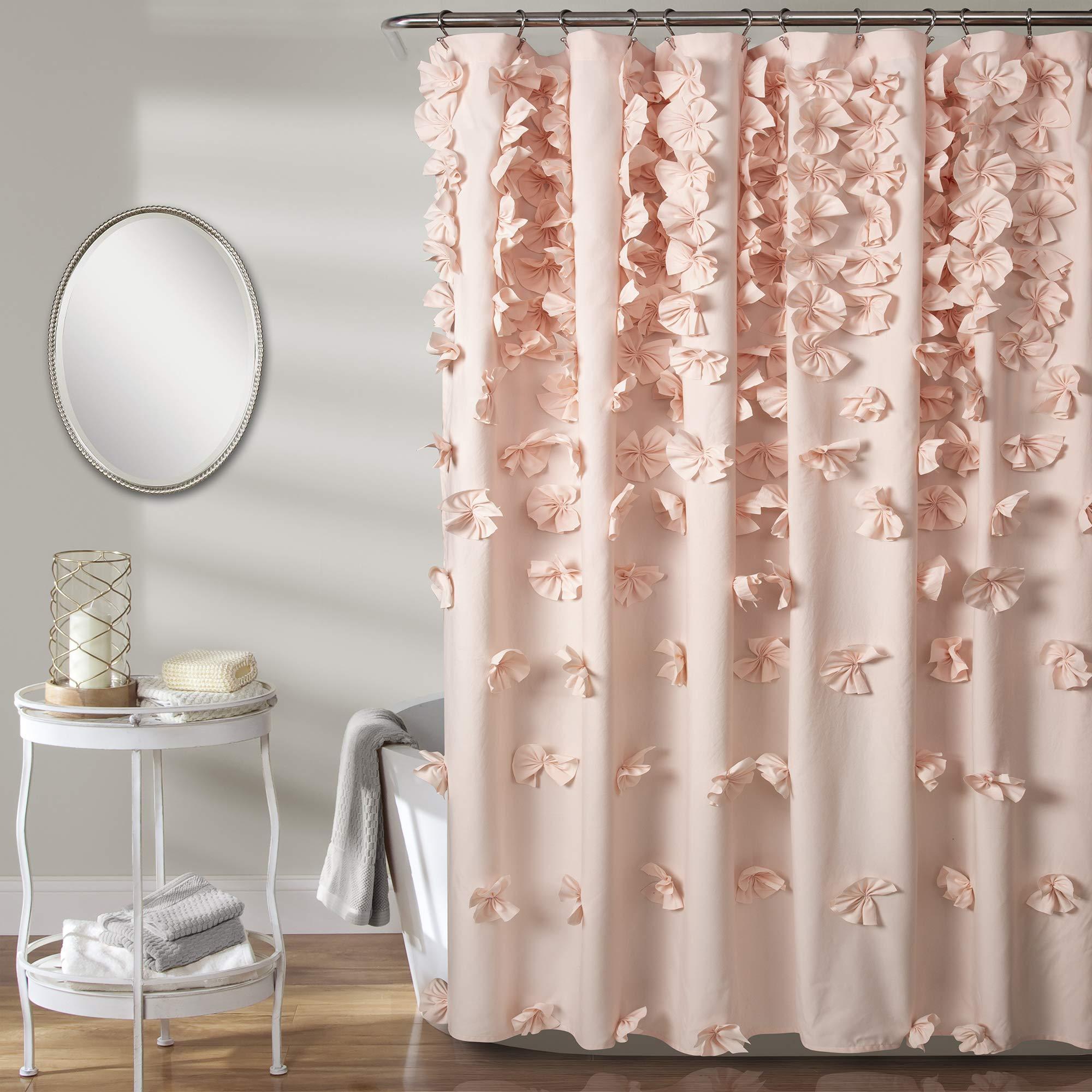 Lush Decor Riley Shower Curtain, 72'' x 72'', Blush