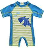 Attraco Baby Badeanzug Mädchen Rash Guard UV Kurzarm Süße Fische Druck One Piece Bademode UPF50+