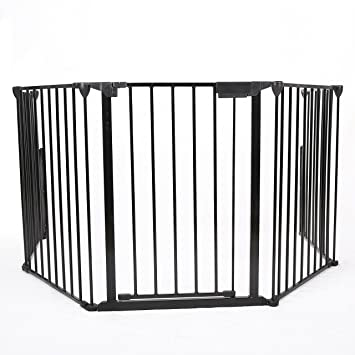 costzon fireplace fence baby safety fence hearth gate bbq metal fire gate pet dog cat christmas tree fence - Baby Gate For Christmas Tree