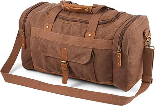 Plambag Canvas Duffle Bag, 50L Large Travel Duffel for Overnight Weekend Luggage Coffee