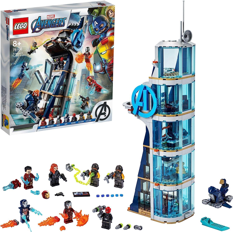 LEGO Marvel Avengers CLAS Batalla en la Torre de los Vengadores con Iron Man, Viuda Negra & Cráneo Rojo, Set de Juguete, Multicolor (76166)