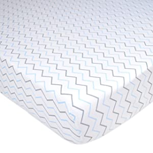 TL Care Printed 100% Cotton Jersey Knit Fitted Crib Sheet for Standard Crib and Toddler Mattresses, Blue Zigzag, for Boys and Girls