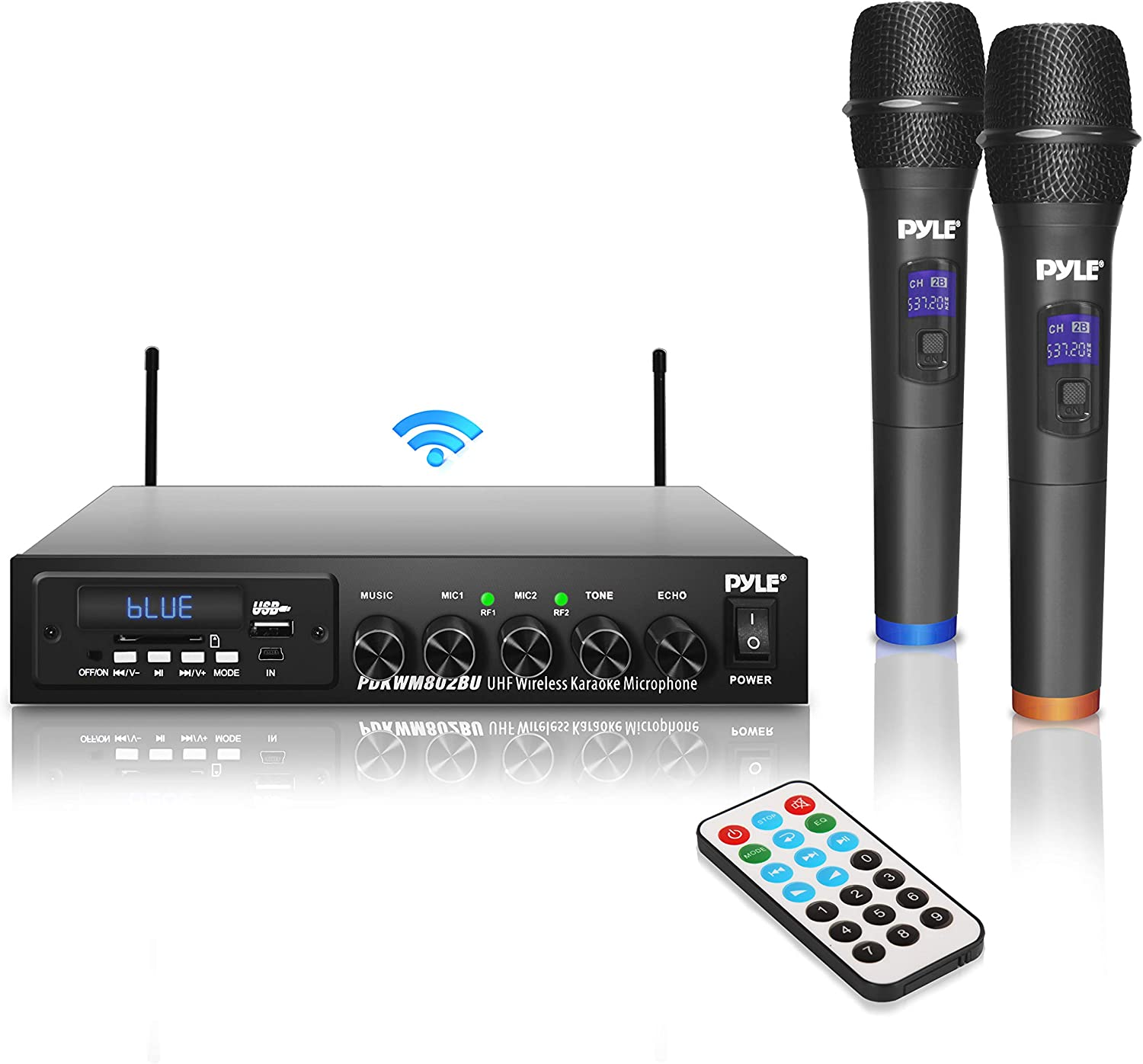 Pyle UHF Wireless Karaoke Microphone Portable Digital Audio Sound Mixer System w/Bluetooth Receiver, MIC Setting, MP3, USB, SD Readers-for DJ Music and Home Party, one size (PDKWM802BU.5)