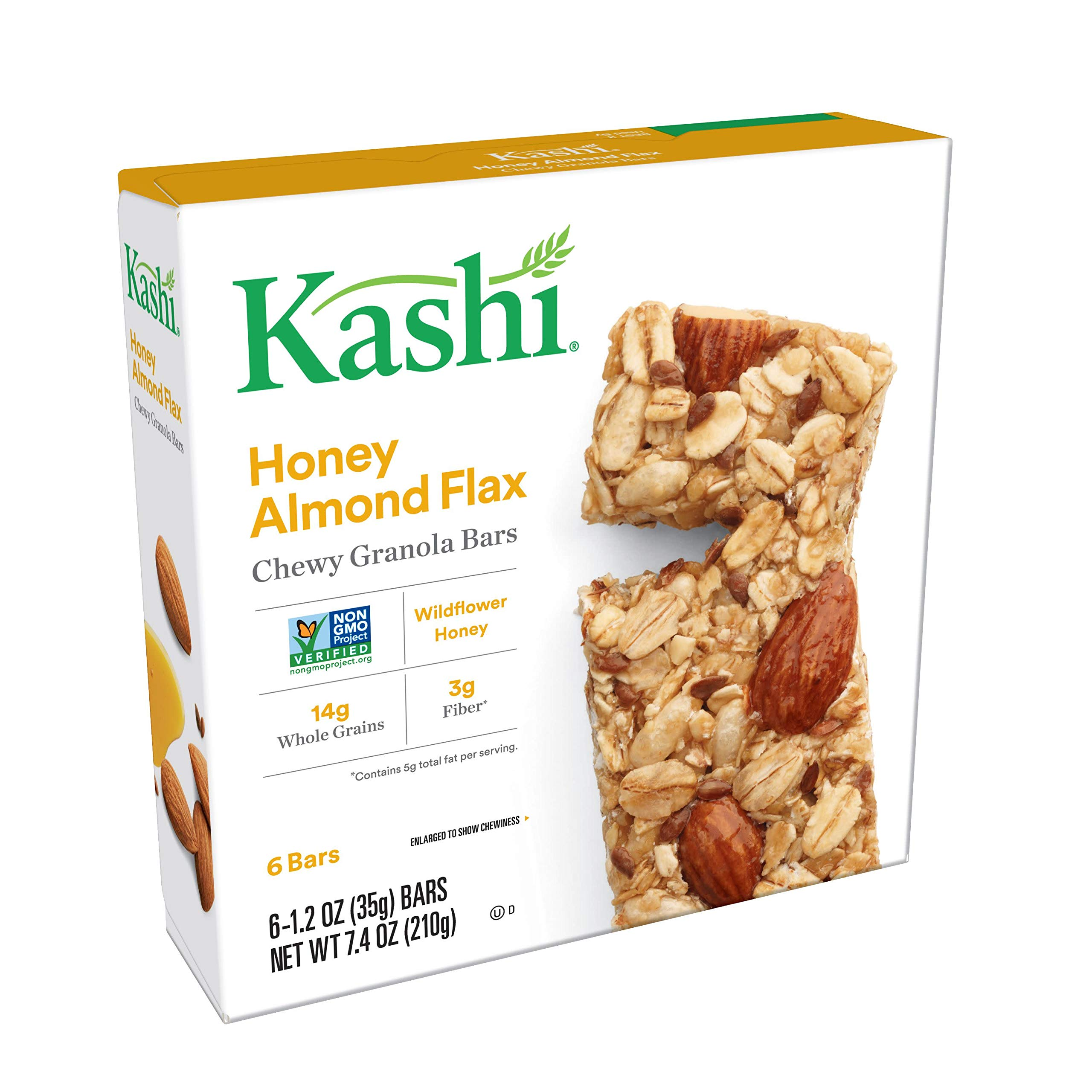 Kashi, Chewy Granola Bars, Honey Almond Flax, Non-GMO Project Verified, 7.4 oz (6 Count)(Pack of 8)