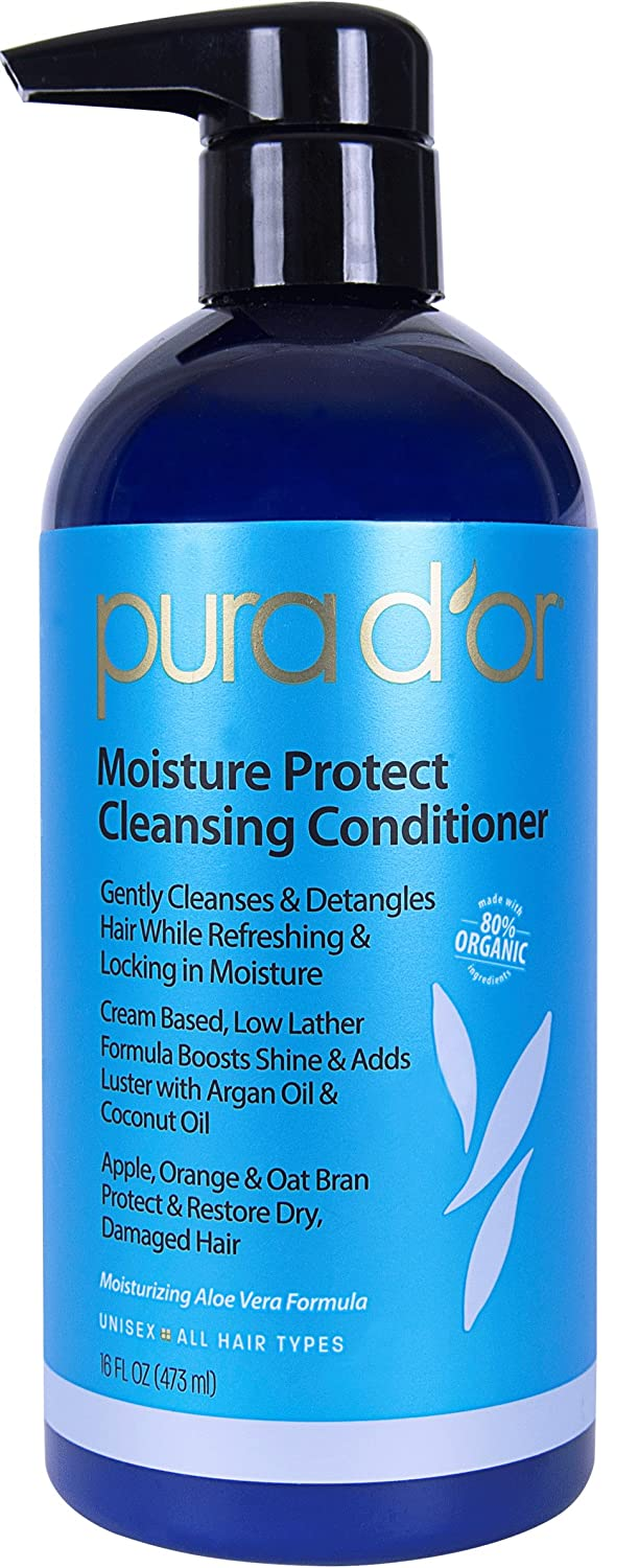 PURA D'OR Moisture Protect Cleansing Conditioner Treatment 2-in-1 Detangling Co-Wash, Organic Argan Oil, 16 fl. Oz. PURA D' OR