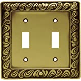 Franklin Brass 64040 Paisley Double Toggle Switch Wall Plate / Switch Plate / Cover, Tumbled Antique Brass