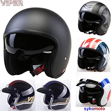 VIPER V06 RETRO URBAN JET SCOOTER INTEGRADO VISERA CASCO ABIERTO NEGRO MATE (XS (53