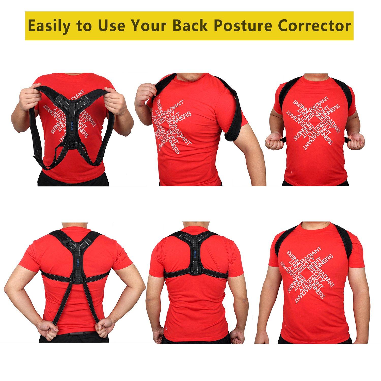 Back Posture Corrector for Women Men, Effective Primate Posture Brace & Armpit Pads, Comfortable Clavicle Brace, Adjustable Thoracic Kyphosis Brace, Upper Back Clavicle Posture Support (REG 32''-45'') by Risheng (Image #8)
