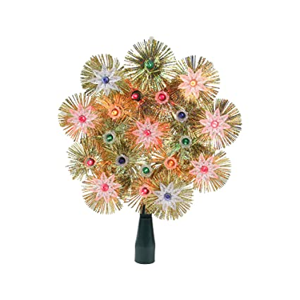 8 Retro Gold Tinsel Snowflake Christmas Tree Topper Multi Lights