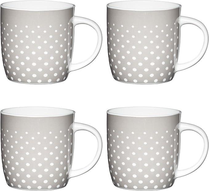 425 ML Set of 4 Kitchen Craft Lot de 4 Mugs en Porcelaine Anglaise Vert//Blanc 425 ML Porcelaine Vert//Blanc