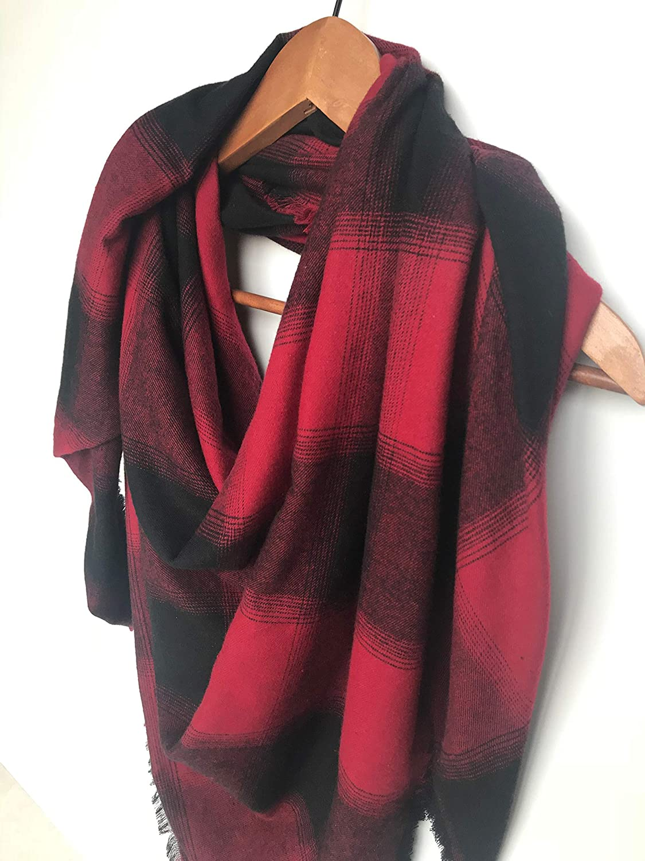 Red Blanket Scarf Buffalo Plaid Cotton Christmas Gift