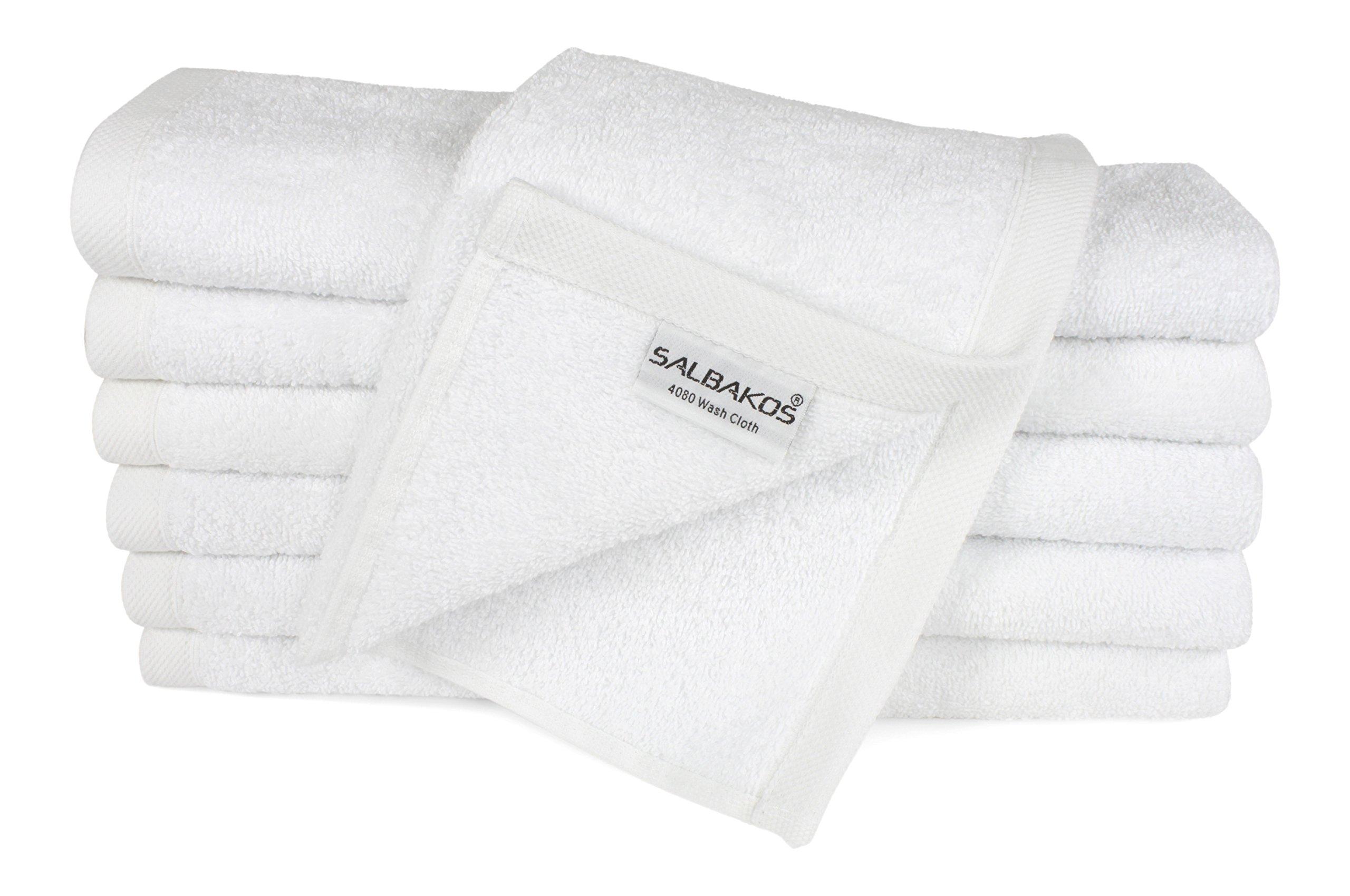 SALBAKOS Luxury Hotel & Spa Turkish Cotton 12-Piece Eco-Friendly Washcloth Set Bath, White
