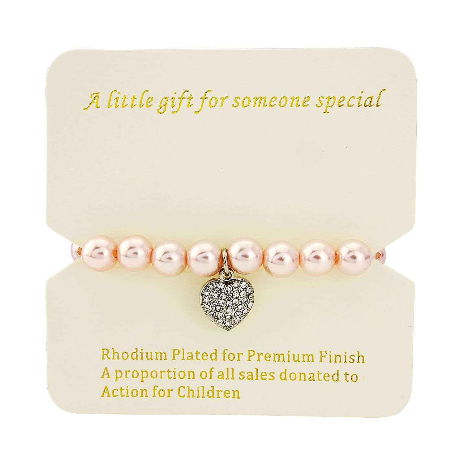 beeaed7aeb Bridesmaid, flower girl, wedding pearl faux bracelet, perfect for 3-10  years old, with pink gift bag