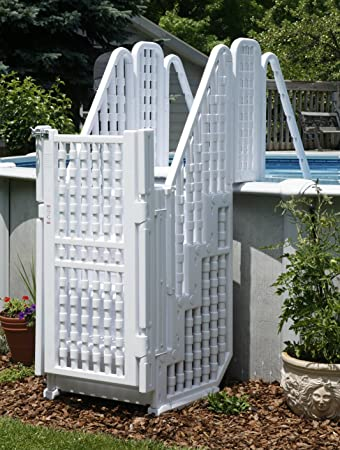 amazon com above ground pool steps ladder w gate lock