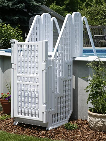 Above-Ground Pool Steps, Ladder w/ Gate & Lock